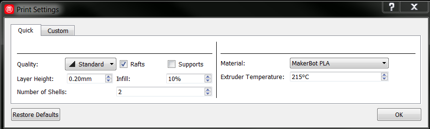 Basic Print Settings Makerbot Desktop Software Makerbot Support