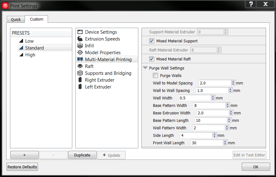 Custom Settings | MakerBot Desktop (Software) | MakerBot Support