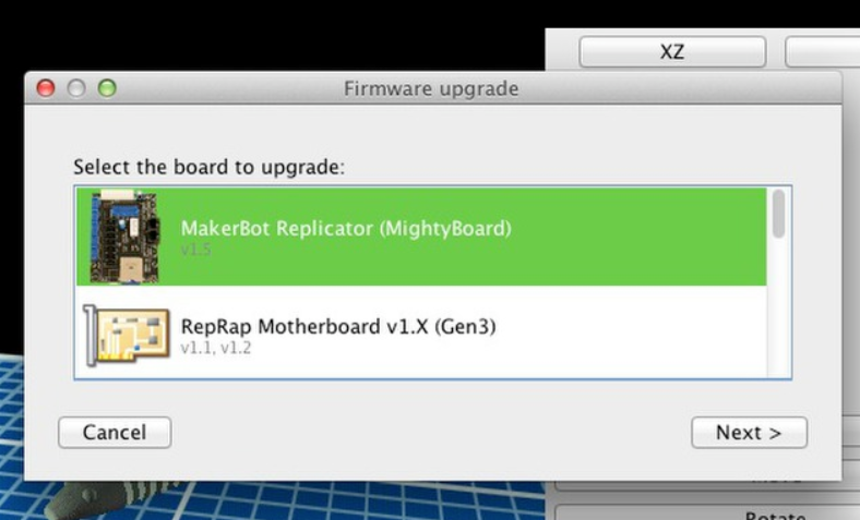 Updating Firmware for the MakerBot Replicator via